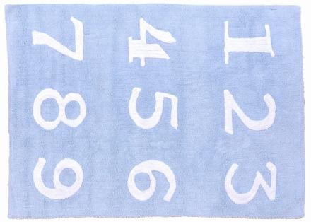 Lorena Canals alfombra Washable Numeros azul-blue 120x160cm